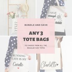 Bundle Tote Bags, Choose 3 regular size tote bags, Friends Gifts , Reusable Tote