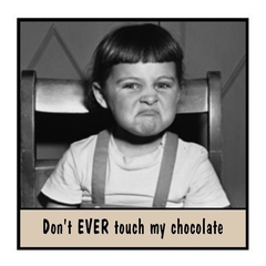 Funny Vintage Photo Magnet | Chocoholic Gift | Don't EVER touch my chocolate