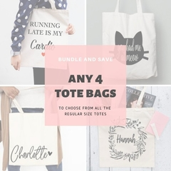 Bundle Tote Bags, Choose 4 regular size tote bags, Bridesmaid proposal gift , Co