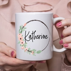 Floral Custom Name Mug - Personalised Bridesmaid Gift - Pretty Coffee Mug - Best