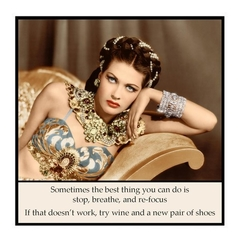 Funny Vintage Photo Magnet | Attitude | Try wine and a new pair of shoes