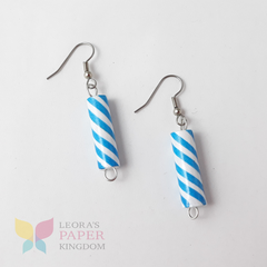 Blue Sparkle Barber Pole Earrings