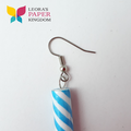 Blue Sparkle Barber Pole Earrings