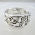 Floral SPOON RING / Thumb Ring Upcycled  from Solid Silver Fork.