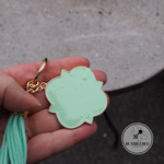 Large Mint & Gold Enamel Key Ring  Mothers day Gift idea Mum Nan