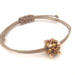 Minimalist, Beaded Bead Adjustable Bracelet/ Boho Chic Bracelet - Bronze