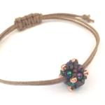 Minimalist, Beaded Bead Adjustable Bracelet/ Boho Chic Bracelet - Peacock