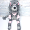 'Leesa' the Sock Lion - grey and pink argyle- *READY TO POST*