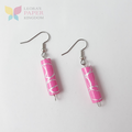 Paper Bead Pink Earrings