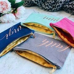 Personalised bridesmaid gift makeup bags , Mint custom cosmetic bag for birthday