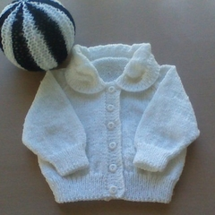 Baby Cardigan in White to fit 0 to 3 months.