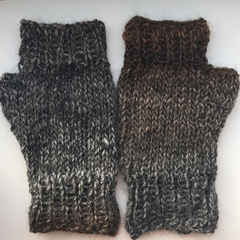 Flecked Brown and Charcoal Fingerless Mittens