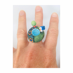 Hand made Ceramic Adjustable Landscape Unusual Quirky Statement Ring OOAK