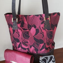 Tulip Tote in cork leather and wrap scrap