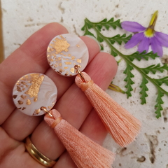 Polymer Clay Tassel Earrings Marbled Design, Beige and White BlackwoodLily