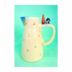 Ceramic Jug/Vase with Tiny House and Pond