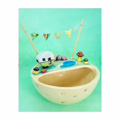Medium Ceramic Planter with Tiny Caravan and Bunting