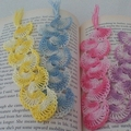CROCHETED BOOKMARKES IN YELLOW, PINK, BLUE AND MAUVE 4PLY DMC CROCHET COTTON..