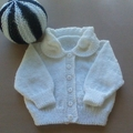 BABIES CARDIGAN IN WHITE ACRYLIC TO FIT 0 TO 3 MONTHS.