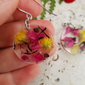 Resin Earrings, Handmade  Pink & Yellow Flower Dangles BlackwoodLily