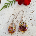 Teardrop Earrings Pink Confetti Glitter Earrings BlackwoodLily