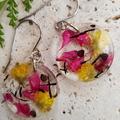 Resin Earrings, Handmade  Pink & Yellow Flower Dangles BlackwoodLily