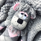 'Leesa' the Sock Lion - grey and pink argyle- *MADE TO ORDER*