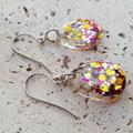 Teardrop Earrings Pink Confetti Glitter Earrings BlackwoodLily