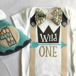 Wild One Boys Birthday Onesie & Party Hat Boys 1st Birthday