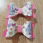 Disney Inspired Print Pair Faux Leather Bows