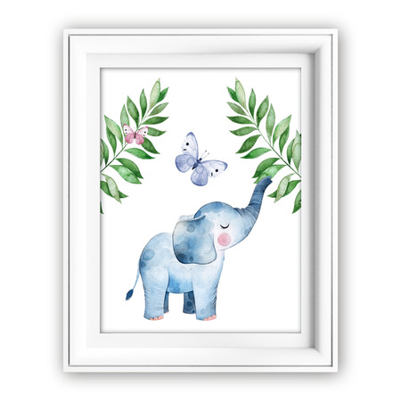 Green Leaves Elephant DIY Printable Wall Art