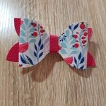 Floral Print Faux Leather Bow
