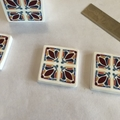 Polymer clay earrings, statement earrings in burgundy blue and white tiles