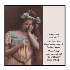 Funny Vintage Photo Magnet | Why God?  Why me?