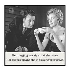 Funny Vintage Photo Magnet | Husband Wife Partner Gift | Nagging is a sign