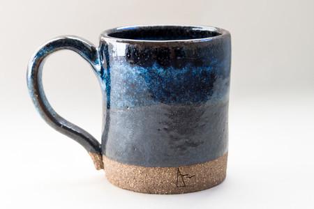 Coffee mug - Handmade Stoneware 'Silver Liquorice' Blue and black