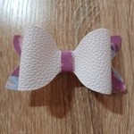 White with Ballet Slippers Faux Leather Bow