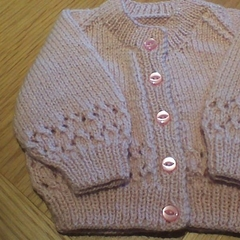 Baby Girls Dusty Pink Cardigan to fit size 0 to 3 months.