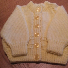 Babies Lemon Cardigan to fit size 0 to 3 months.