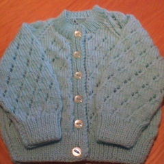 BABIES AQUA AND LEMON CARDIGAN IN ACRYLIC TO FIT 3 TO 6 MONTHS.