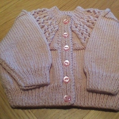 Baby Girls Dusty Pink Cardigan to fit size 0 to 3 months