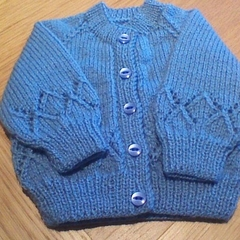 Baby Boys Demin Blue Cardigan to fit 0 to 3 months.