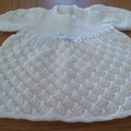 BABIES WHITE DRESS IN PATON'S 4PLY ACRYLIC TO FIT 0 TO 3 MONTHS.