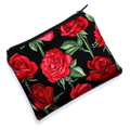 Small Coin Purse in Beautiful Red Rose Fabric