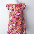 Size 3 -  Smock Dress - Peasant Dress - Retro Floral - Pink - Yellow