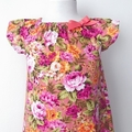 Size 6 -  Smock Dress - Peasant Dress - Retro Floral - Pink - Yellow