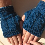Adult Fingerless Mitts Hand Knit, Wool , Teal Blue Green