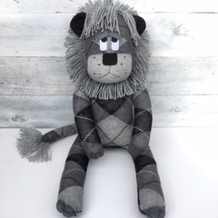 'Leroy' the Sock Lion - grey and black argyle- *READY TO POST*