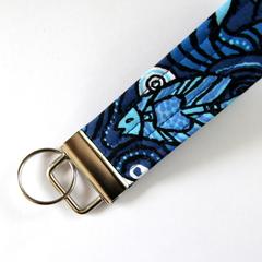 Wrist Key Fob / Keyring - Blue Aboriginal Fabric