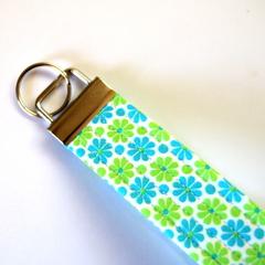 Wrist Key Fob / Keyring - Tiny Blue & Green Flowers